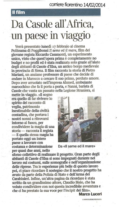 Corriere Fiorentino 14022014 il seme ed il mare